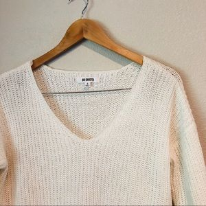 BB Dakota White V-Neck Sweater